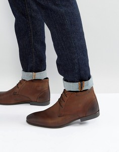 Коричневые кожаные ботинки чукка ASOS - Коричневый