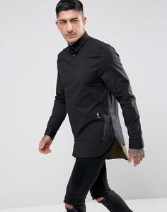 Длинная рубашка скинни с контрастным низом Religion - Черный