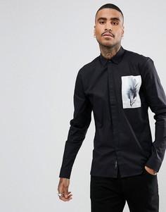 Строгая приталенная рубашка с нашивкой Religion - Черный