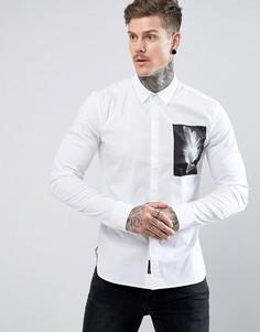 Строгая приталенная рубашка с нашивкой Religion - Белый