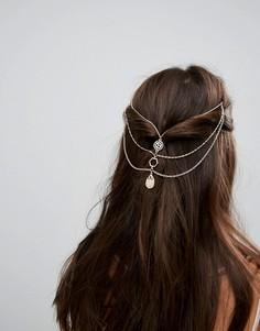 Трехъярусное украшение для волос с цепочками ASOS - Золотой