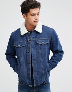 Джинсовая куртка с подкладкой из искусственного меха Bellfield - Синий