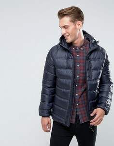 Легкая дутая куртка с капюшоном Bellfield - Темно-синий