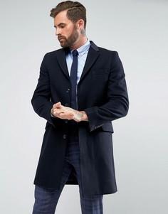 Классическое однобортное пальто с бархатной отделкой Gianni Feraud - Темно-синий