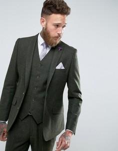 Зеленый приталенный пиджак с добавлением шерсти Gianni Feraud - Зеленый