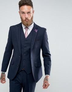 Темно-синий приталенный пиджак с узором в елочку Gianni Feraud - Темно-синий
