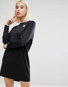 Спортивное трикотажное платье в тонкую полоску с длинными рукавами Kappa - Черный