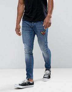 Эластичные джинсы скинни с нашивками Juice - Синий