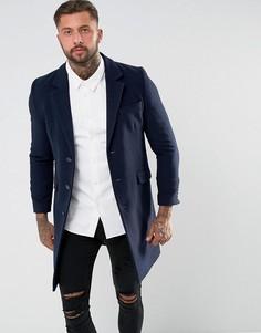 Темно-синее полушерстяное пальто ASOS - Темно-синий