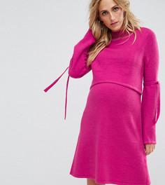 Платье-джемпер с завязками на рукавах ASOS Maternity NURSING - Розовый