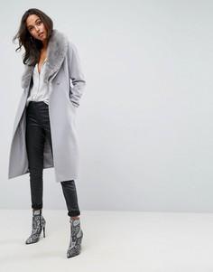 Приталенное пальто миди с отделкой искусственным мехом ASOS - Серый