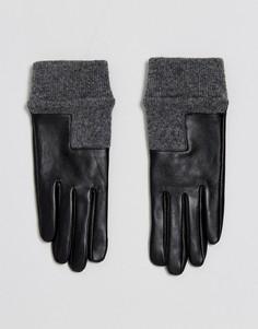 Кожаные перчатки с асимметричными манжетами в рубчик ASOS - Черный