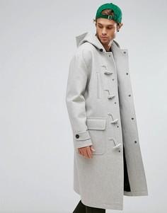 Серый меланжевый дафлкот из ткани с добавлением шерсти ASOS - Серый