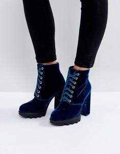 Ботильоны на платформе со шнуровкой Truffle Collection - Синий