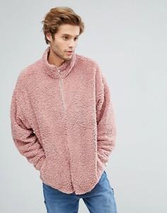 Спортивная оверсайз-куртка из искусственного меха ASOS - Розовый