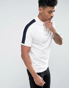 Белая трикотажная футболка-поло в рубчик River Island - Белый