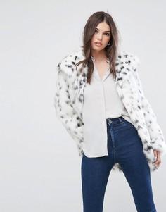 Куртка из искусственного меха с леопардовым узором ASOS - Белый