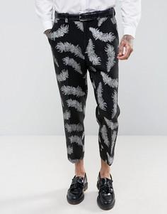 Черные суженные брюки с вышивкой перьев ASOS - Черный