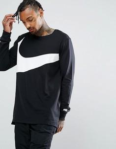 Черный лонгслив с большим логотипом-галочкой Nike 875715-010 - Черный