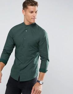 Приталенная рубашка с принтом Selected Homme - Зеленый