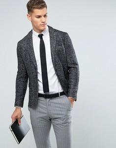 Приталенный блейзер с добавлением шерсти Selected Homme - Черный