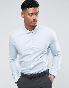 Голубая приталенная рубашка в строгом стиле River Island - Синий