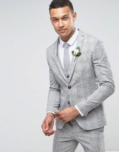Серый пиджак скинни в клетку River Island Wedding - Серый