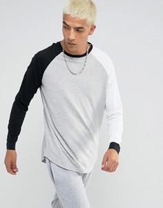 Удлиненная футболка с длинными рукавами реглан и закругленным краем ASOS - Мульти