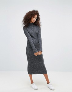 Трикотажное платье макси из ткани с добавлением шерсти Ganni Connel - Серый