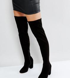 Ботфорты на каблуке для широкой стопы ASOS KATCHER - Черный