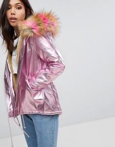 Переливающаяся парка с искусственным мехом на капюшоне PrettyLittleThing - Розовый