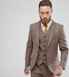 Приталенный пиджак в клетку из твида Харрис Heart & Dagger - Коричневый