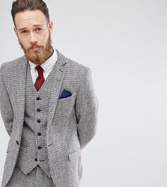 Приталенный пиджак в ломаную клетку из твида Харрис Heart & Dagger - Серый