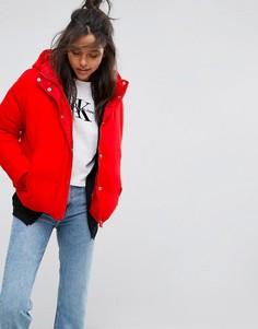 Дутая куртка-пуховик с сетчатым верним слоем Calvin Klein Jeans - Красный