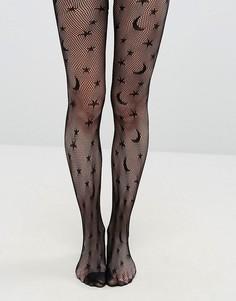 Сетчатые колготки в стиле Хэллоуина Leg Avenue - Черный