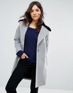 Пальто из ткани с добавлением шерсти с воротником из искусственного меха Helene Berman - Серый