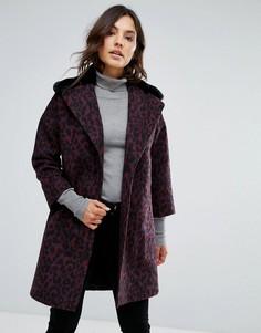 Пальто из ткани с добавлением шерсти с воротником из искусственного меха Helene Berman - Фиолетовый