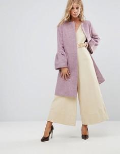 Пальто с оборками на рукавах Helene Berman - Розовый