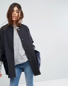 Пальто-кимоно из ткани с добавлением шерсти с карманами из искусственного меха Helene Berman - Серый