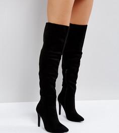 Сапоги на каблуке для широкой стопы Truffle Collection - Черный