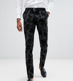Супероблегающие брюки с бархатистым рисунком Noose & Monkey TALL - Черный