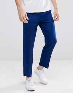 Синие укороченные строгие брюки скинни ASOS - Темно-синий