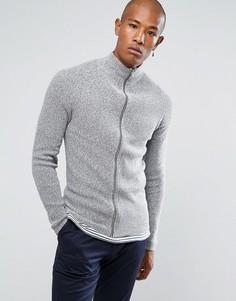 Кардиган из 100% хлопка на молнии Selected Homme - Серый