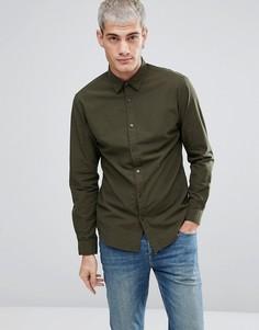 Узкая хлопковая рубашка Selected Homme - Зеленый
