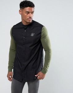 Черная обтягивающая рубашка с трикотажными рукавами SikSilk - Черный