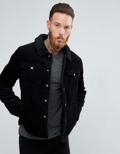 Черная вельветовая куртка на подкладке из искусственного меха ASOS - Черный