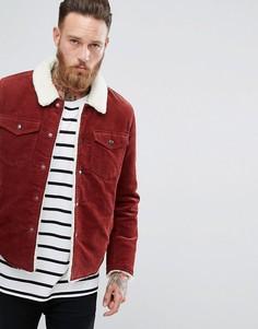 Красно-бурая вельветовая куртка на подкладке из искусственного меха ASOS - Оранжевый