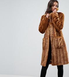 Пальто миди из искусственного меха ASOS TALL - Коричневый