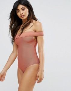 Слитный купальник в рубчик со спущенными плечами Zulu & Zephyr - Розовый