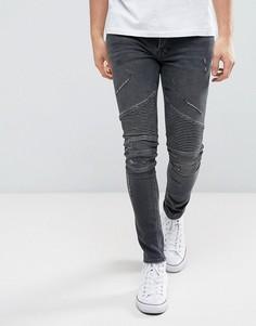 Черные супероблегающие джинсы в байкерском стиле River Island - Черный